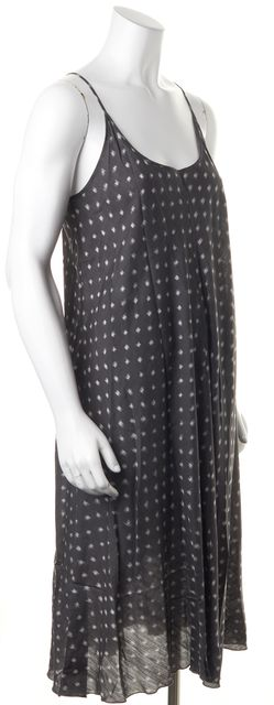EILEEN FISHER Gray Silk Embellished Print Maxi Dress