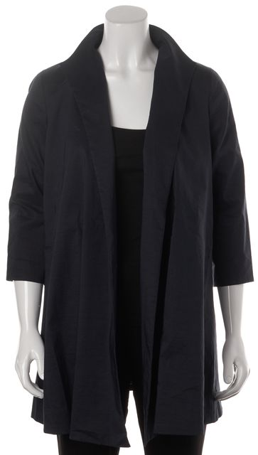 EILEEN FISHER Navy Blue Open Drape Cropped Sleeve Basic Jacket