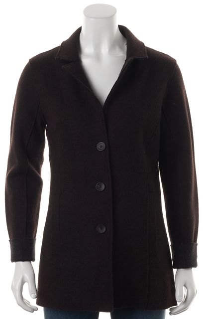 EILEEN FISHER Brown Wool Cuffed Sleeve Basic Coat Jacket