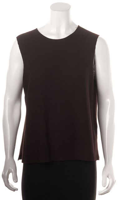 EILEEN FISHER Brown Wool Knit Relaxed Fit Sleeveless Sweater