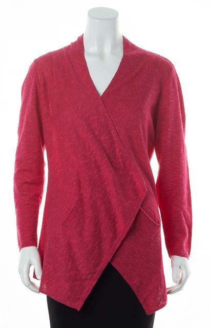 EILEEN FISHER Pink Linen Long Sleeve Pocket Front Open Cardigan