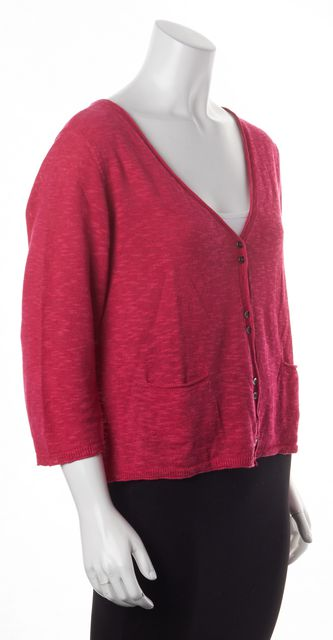 EILEEN FISHER Pink Linen Button Front Cardigan