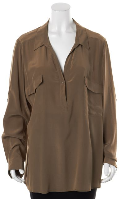 EILEEN FISHER Brown Silk Long Sleeve V-Neck Blouse Top
