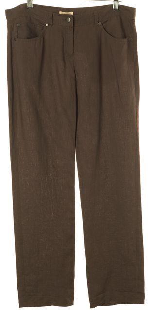 EILEEN FISHER Brown Linen Loose Fit Pants
