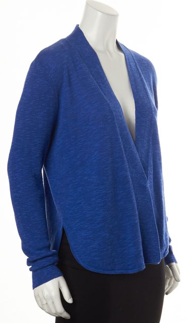 EILEEN FISHER Royal Blue Open Drape Linen Cardigan