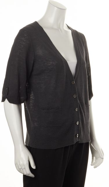 EILEEN FISHER Charcoal Gray Linen Button Front Oversized Cardigan