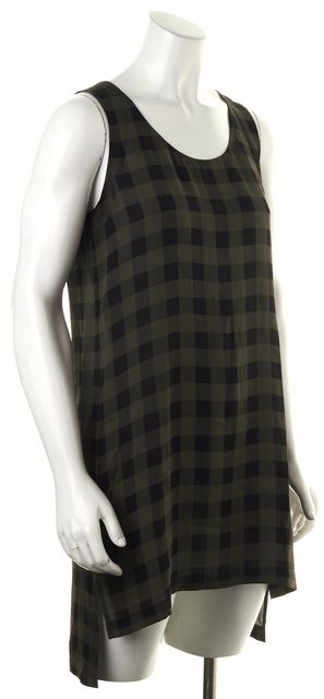 EILEEN FISHER Olive Green Black Plaid Silk Sleeveless Sheath Dress