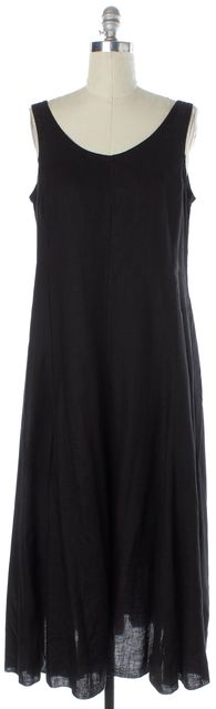 EILEEN FISHER Black Linen Round Neck Sleeveless Midi Shift Dress