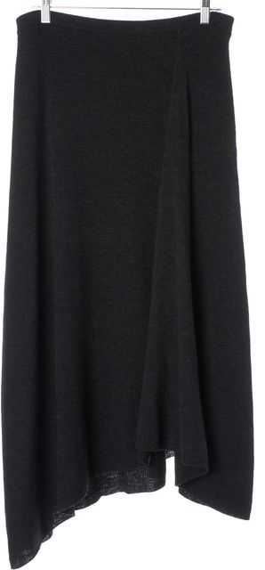 EILEEN FISHER Gray Ribbed A-Line Asymmetrical Stretch Knit Skirt