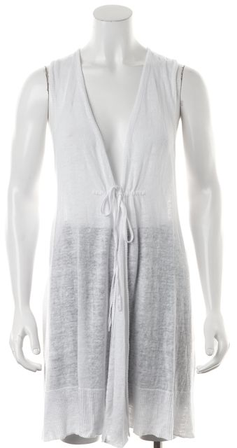 EILEEN FISHER White Linen Sleeveless Cardigan