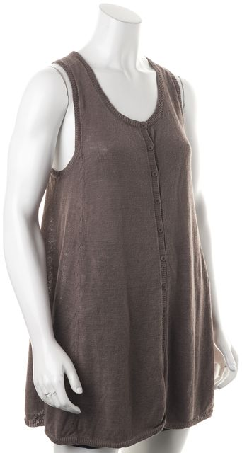 EILEEN FISHER Brown Linen Sleeveless Knit Top