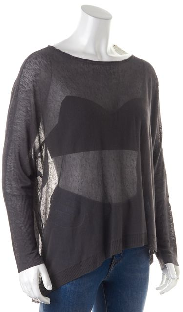 EILEEN FISHER Gray Linen Long Sleeve Sheer Basic T-Shirt