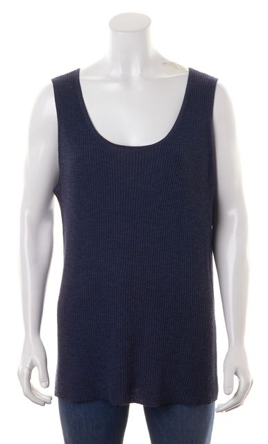 EILEEN FISHER Blue Wool Ribbed Knit Scoop Neck Top