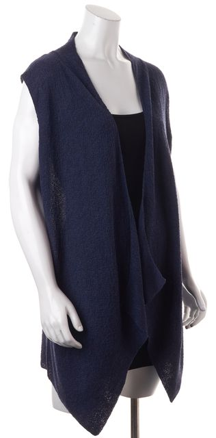 EILEEN FISHER Blue Wool Long Open Drape Sweater Vest