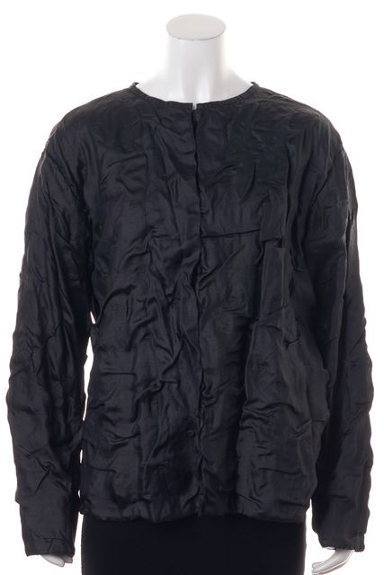 EILEEN FISHER Black Silk Basic Jacket