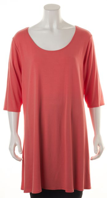 EILEEN FISHER Coral Pink Jersey Top