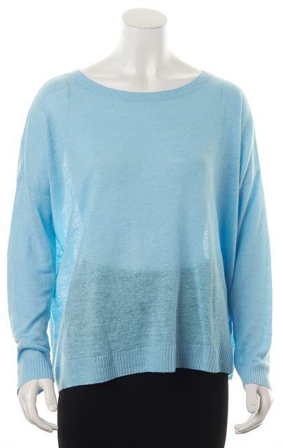 EILEEN FISHER Baby Blue Linen Bateau Neck Box-Top Knit Top