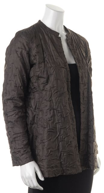 EILEEN FISHER Gray Silk Ruched Open Basic Jacket