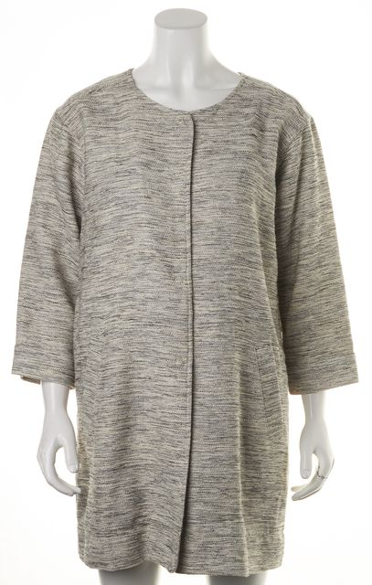 EILEEN FISHER Ivory Black Woven Cotton Twist Basic Jacket
