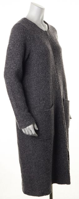 EILEEN FISHER Gray Wool Basic Zipped Long Jacket