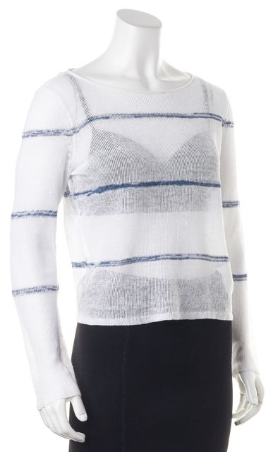 EILEEN FISHER White Blue Striped Perforated Long Sleeve Blouse Top