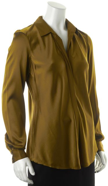EILEEN FISHER Chartreuse Yellow Silk Classic Collar Blouse