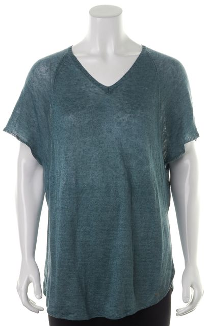 EILEEN FISHER Dark Teal Blue Linen V-Neck Oversized Basic T-Shirt
