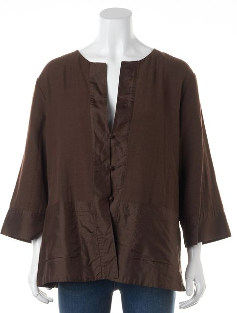 EILEEN FISHER Brown Round Neck Basic Cropped Sleeve Silk Trim Jacket
