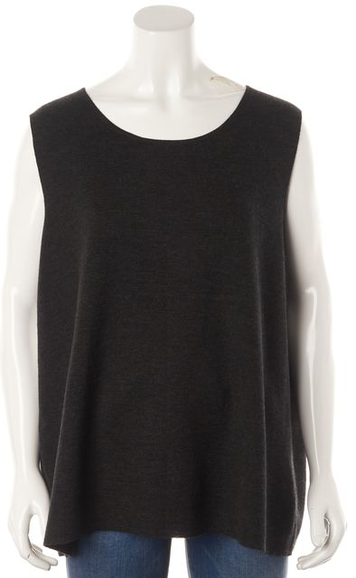 EILEEN FISHER Gray Wool Sleeveless Top