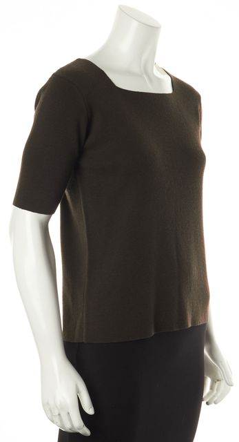 EILEEN FISHER Brown Wool Square Neck Short Sleeve Knit Top