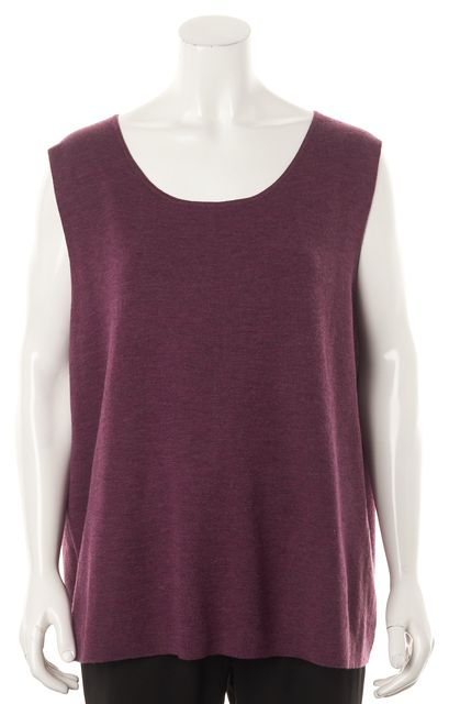 EILEEN FISHER Purple Merino Wool Sleeveless Rumby Knit Top