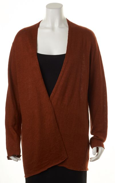 EILEEN FISHER Rustic Orange Linen Long Cardigan