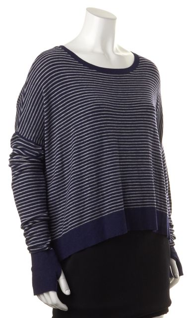 EILEEN FISHER Blue Gray Striped Long Sleeve Boat Neck Sweater
