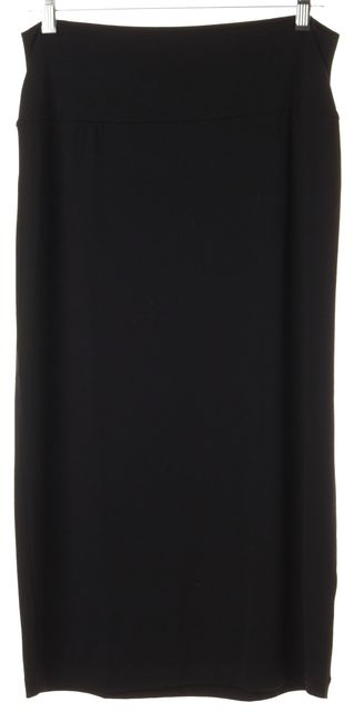 EILEEN FISHER Black Stretch Knit Jersey Slim Midi Skirt