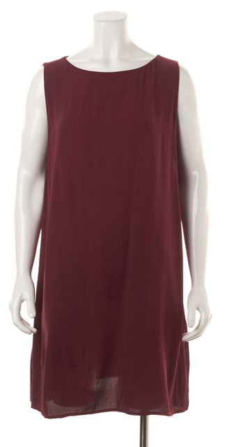 EILEEN FISHER Red Silk Sleeveless Above Knee Shift Dress