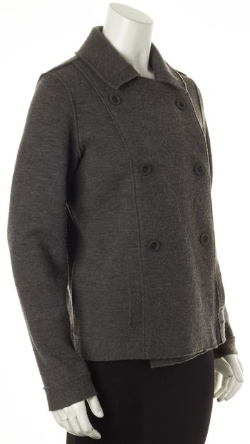 EILEEN FISHER Gray Merino Wool Double Breasted Basic Jacket