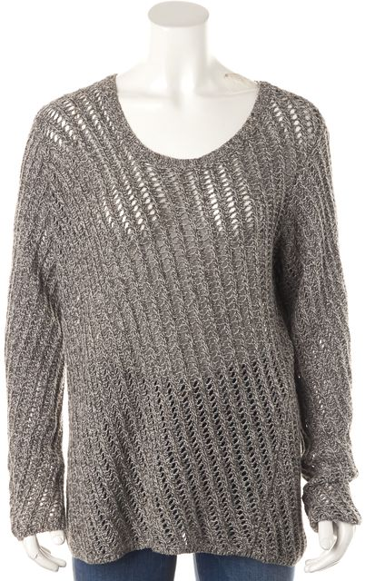 EILEEN FISHER Gray Boat Neck Cable Knit Sweater