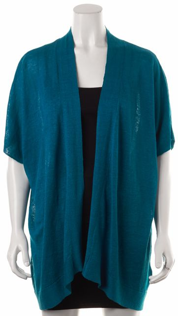 EILEEN FISHER Teal Blue Relaxed Fit Open Drape Long Cardigan Sweater