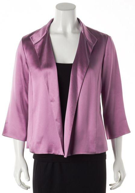 EILEEN FISHER Lavender Purple Silk 3/4 Sleeve Open Basic Jacket