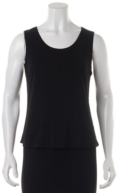 EILEEN FISHER Black 100% Silk Sleeveless Tank Top