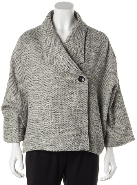 EILEEN FISHER Gray Black Tweed Basic One Button Jacket