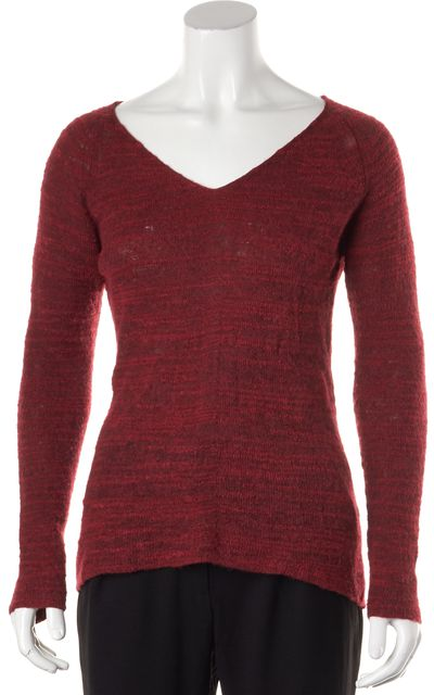 EILEEN FISHER Red Alpaca Blend Long Sleeve V-Neck Blouse Top