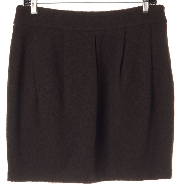 EILEEN FISHER Brown Wool Musel w/ Pleats Short Skirt