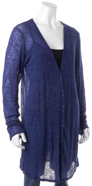 EILEEN FISHER Blue Semi Sheer Lightweight Ribbed Knit Long V-Neck Cardigan