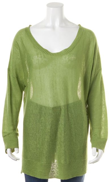 EILEEN FISHER Granny Smith Green Linen Semi Sheer Scoop Neck Sweater