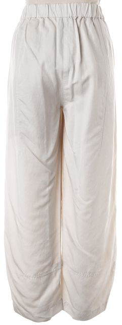 EILEEN FISHER Light Cement Gray Elastic Waist Cropped Casual Pants