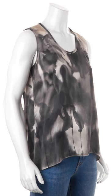 EILEEN FISHER Gray Beige Black Satin Silk Sleeveless Blouse Top