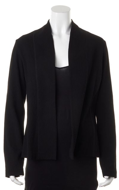 EILEEN FISHER Black Textured Ribbed Knit Open Front Cardigan