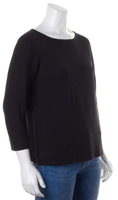 EILEEN FISHER Black Ribbed Silk Cotton Wide Crewneck Sweater