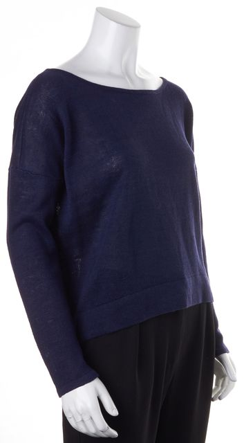 EILEEN FISHER Navy Blue Linen Long Sleeve Relaxed Fit Knit Top